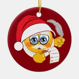 Emoji Santa Christmas Ornament