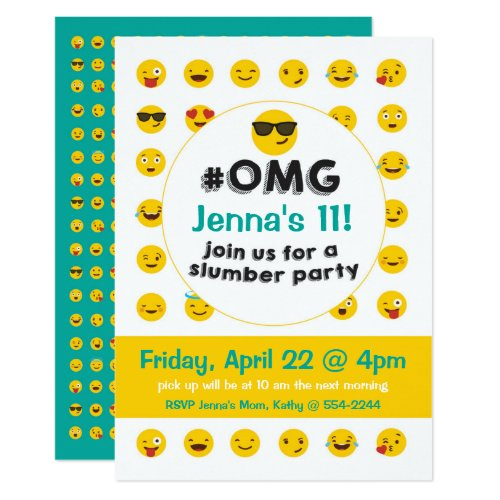 Emoji Slumber Party Invitation