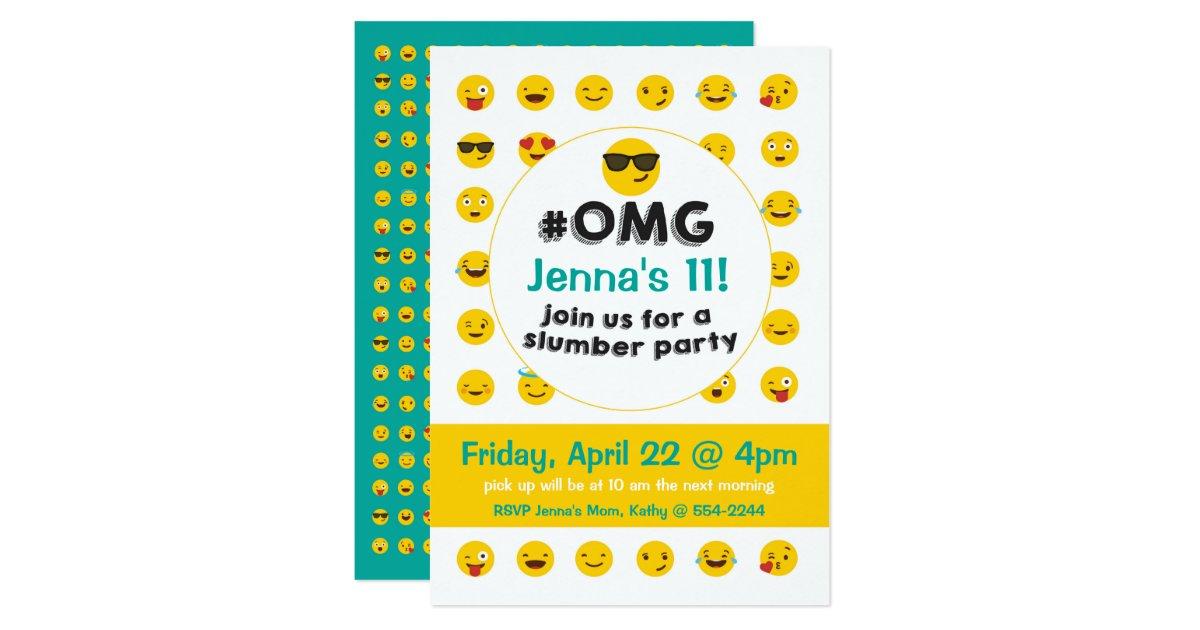 Emoji Slumber Party Invitation | Zazzle.com
