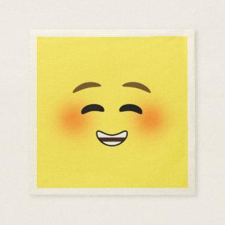 Emoji sonriente blanco servilleta de papel