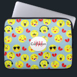 "Emoji Style Fun Cute Trendy Faces Computer Sleeve<br><div class=""desc"">A fun design with cute faces in the style of trendy emoji displaying happy and funny emotions on yellow faces with red broken love hearts.</div>"