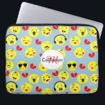 """Emoji Style Fun Cute Trendy Smiley Faces Computer Sleeve<br><div class=""""desc"""">A fun design with cute smiley faces in the style of trendy emoji displaying happy and funny emotions on yellow faces with red broken love hearts.</div>"""