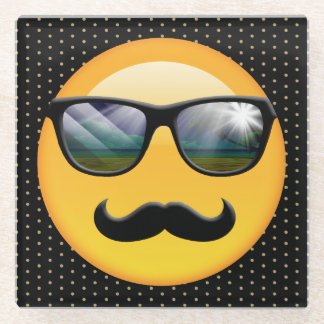 Emoji Super Shady ID230 Glass Coaster