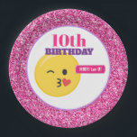 "Emoji Teen Birthday Pink Glitter Paper Plates<br><div class=""desc"">Emoji Party Paper Plates can be customized with your own text and are perfect for any age.</div>"