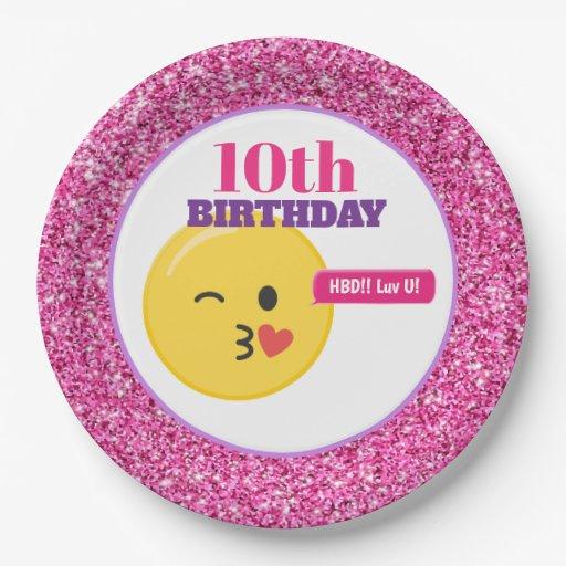 Emoji Teen Birthday Pink Glitter Paper Plates