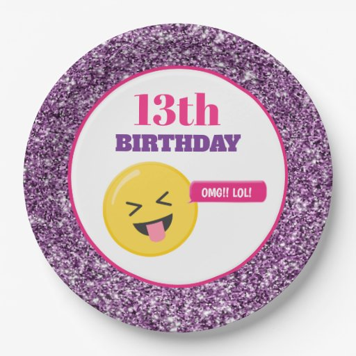 Emoji Teen Birthday Purple Glitter Paper Plates