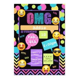 Emoji Texting Birthday Party Invitation