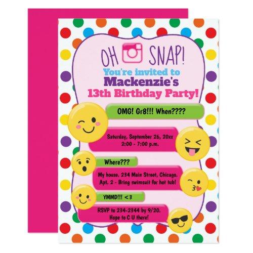 Emoji Texting Multi-Color Girl's Birthday Teen Invitation