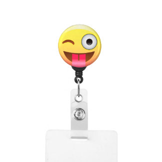 Emoji Tongue Out Yellow Face Badge Holder