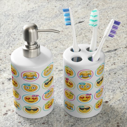 Emoji Toothbrush Holder and Soap Dispenser Set Zazzlecom