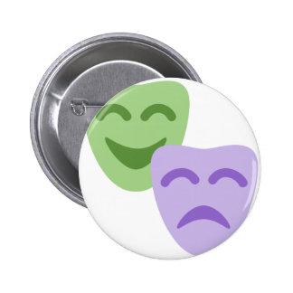 Emoji Twitter - Drama Theater Pin Redondo De 2 Pulgadas