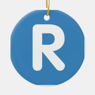 Emoji Twitter Letter R Adorno Navideño Redondo De Cerámica