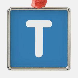 Emoji Twitter - Letter T Adorno Navideño Cuadrado De Metal