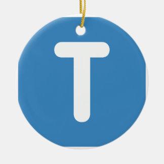 Emoji Twitter - Letter T Adorno Navideño Redondo De Cerámica