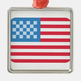 Emoji Twitter los EE.UU Bandera Adorno Navideño Cuadrado De Metal