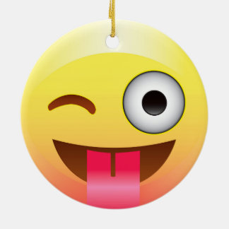 Emoji Wink with Tongue Ornament