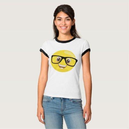 Emoji With Eye Glasses Ringer T-shirt