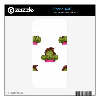 emoji zombie woman decal for iPhone 4