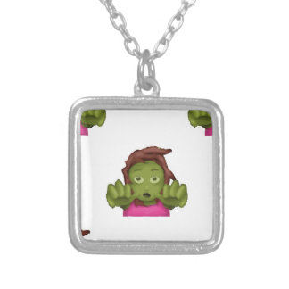 emoji zombie woman silver plated necklace