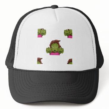 Halloween Themed emoji zombie woman trucker hat