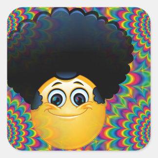 emojis afro pegatina cuadrada