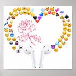 emojis airpods heart flower poster