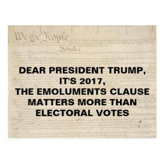 Emoluments Clause Not Electoral Votes Postcard