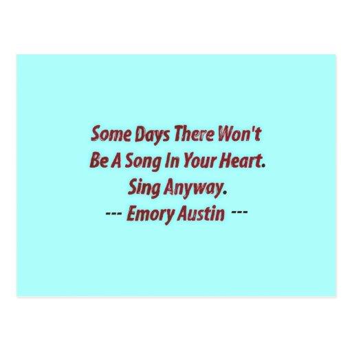 Emory Austin inspirado, cita de motivación Tarjeta Postal