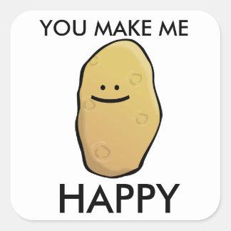 Emoticon adaptable de la patata pegatina cuadrada