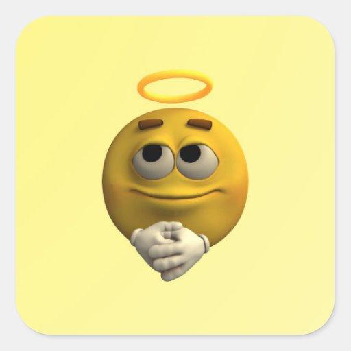 Emoticon angelical pegatina cuadrada