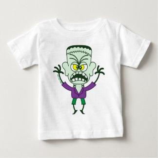 Emoticon asustadizo de Halloween Frankenstein Playera De Bebé