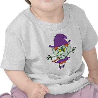 Emoticon asustadizo de la bruja de Halloween Camisetas