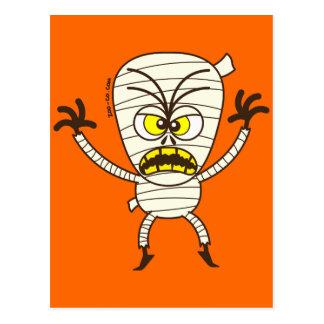 Emoticon asustadizo de la momia de Halloween Tarjetas Postales