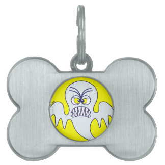 Emoticon asustadizo del fantasma de Halloween Placa De Mascota