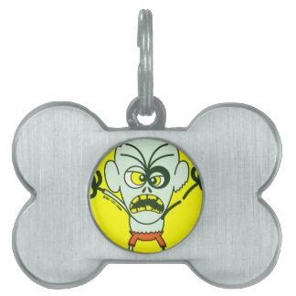 Emoticon asustadizo del zombi de Halloween Placas De Mascota