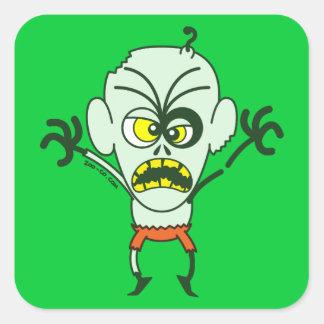 Emoticon asustadizo del zombi de Halloween Pegatina Cuadrada