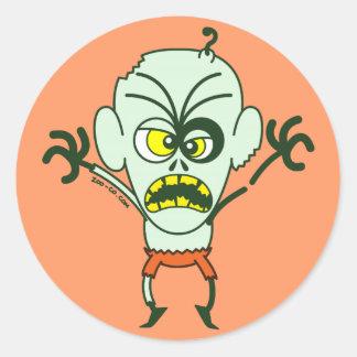 Emoticon asustadizo del zombi de Halloween Pegatina Redonda