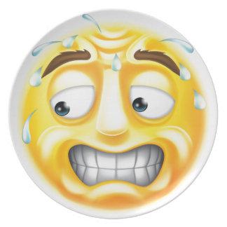 Emoticon asustado Emoji Plato De Comida
