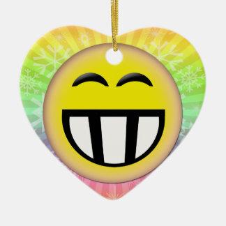 EMOTICON BIG TOOTHY SMILEY FACE CERAMIC ORNAMENT