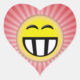 EMOTICON BIG TOOTHY SMILEY FACE HEART STICKER