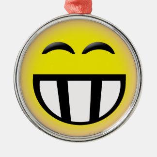 EMOTICON BIG TOOTHY SMILEY FACE METAL ORNAMENT