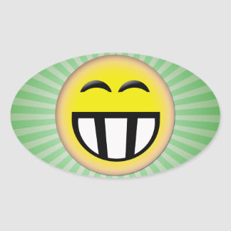 EMOTICON BIG TOOTHY SMILEY FACE OVAL STICKER