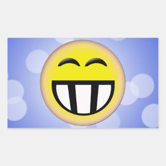 EMOTICON BIG TOOTHY SMILEY FACE RECTANGULAR STICKER