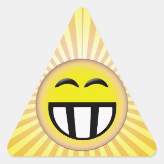 EMOTICON BIG TOOTHY SMILEY FACE TRIANGLE STICKER