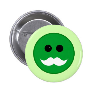 Emoticon blanco verde del smiley del bigote pin