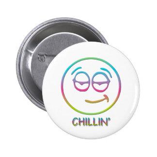 """Emoticon """" Chillin' """" Button"""
