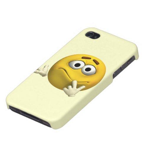 Emoticon confuso iPhone 4 carcasas