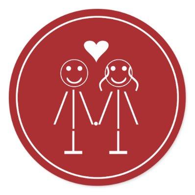 Emoticon Couple Round Sticker