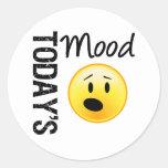 Emoticon de hoy OMG del humor Etiquetas Redondas