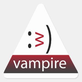 Emoticon de la diversión de la tipografía: Vampiro Pegatina Triangular
